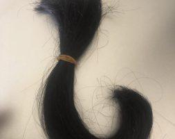 9 inch long straight virgin black hair female