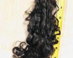 FRESHLY CUT! 12″ GORGEOUS, shiny, thick, virgin, soft, naturally curly female Sicilian Hair – Black – 3″ Thick