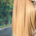Naturally virgin Straight 27 inches golden blonde hair 4.5 inches thickness