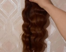 19.6″ BEAUTIFUL WAVY RUSSIAN HAIR, virgin hair, human hair, fresh cut, ponytail, brown, red, auburn