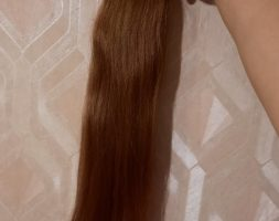 23,6″ LONG AMAZING RUSSIAN VIRGIN HAIR, BROWN, AUBURN, PONYTAIL, HUMAN HAIR, STRAIGHT