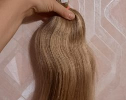 BLONDE HAIR WITH GRAY 16,5″ VIRGIN HAIR, FRESH CUT , PONYTAIL HUMAN HAIR, RAW, UNPROCESSED