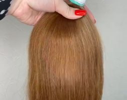Long 24″, weight 4.22 oz GOLD / RED virgin hair from Russian lady, unprocessed, fresh cut, ponyrail