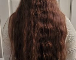 "20"" Long 4″ Thick Wavy Brown Virgin Hair with a Golden Shimmer."