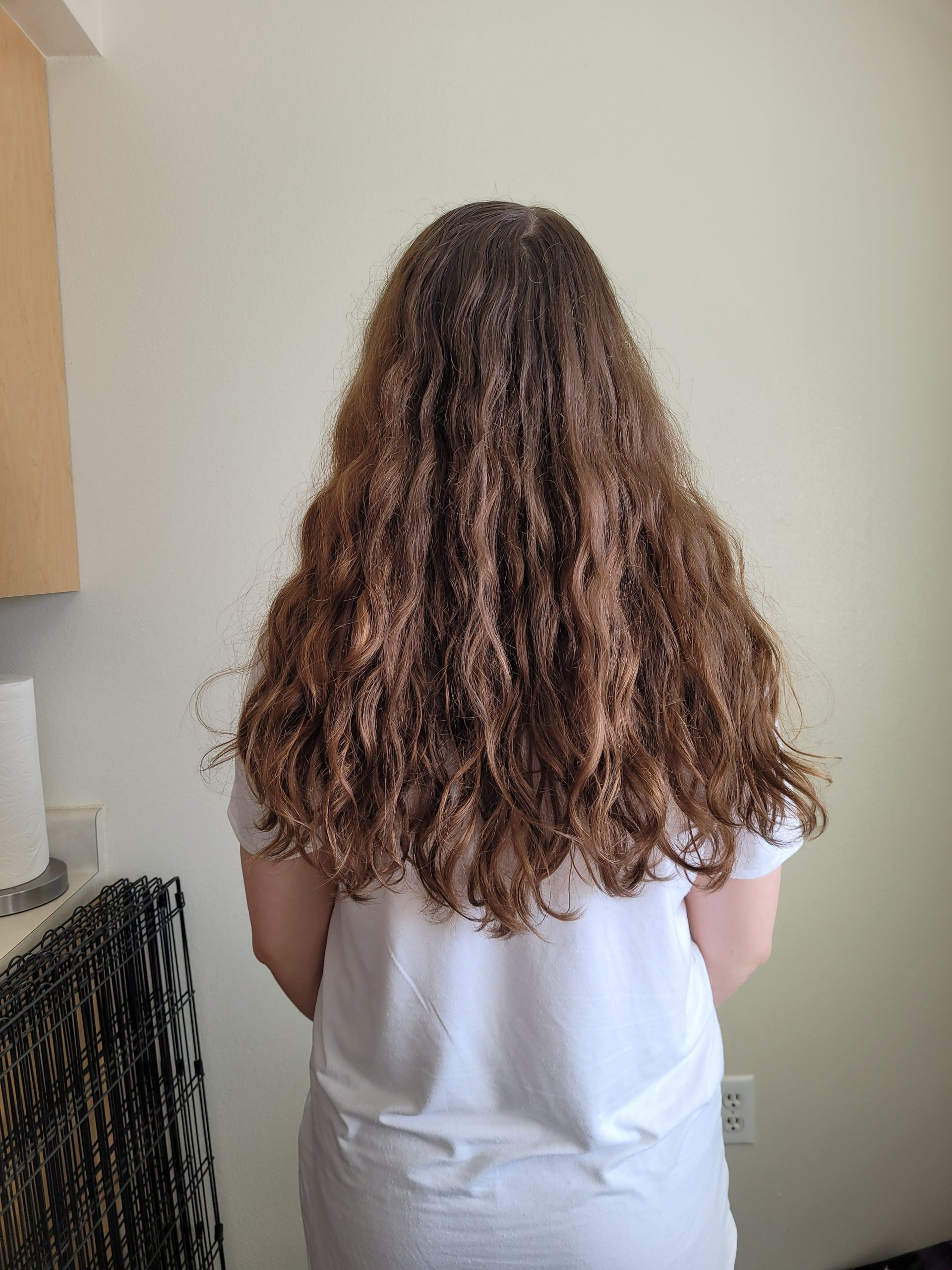 14in long 4in thick Soft curls Auburn brown hair